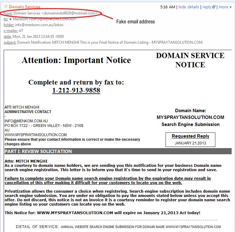 Domain Scam Image